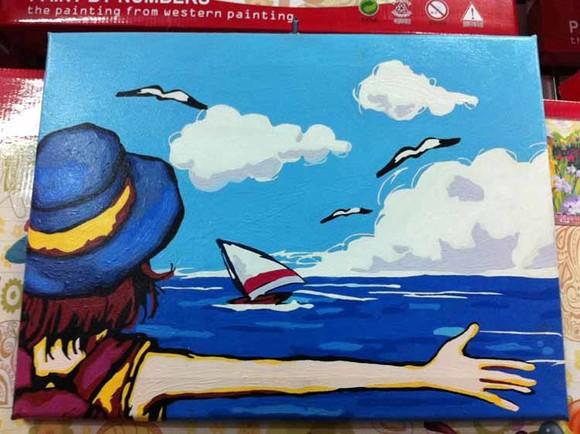 新品diy数码数字油画手绘人物儿童花卉风景油画客厅