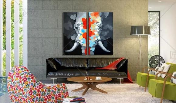 欧式装饰画现代简约抽象画客厅沙发挂画大象装饰油画