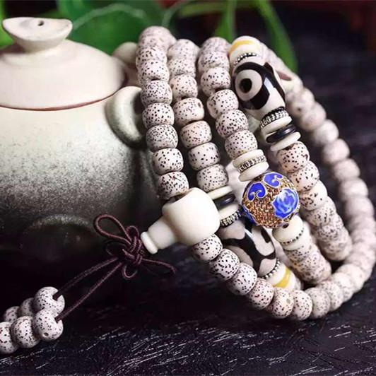 星月菩提8-6,高密正月,顺白,搭配玛瑙天珠,景泰蓝,象牙粉三通