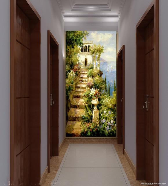 欧式3d立体玄关背景墙壁纸餐厅走廊过道墙面墙纸壁画