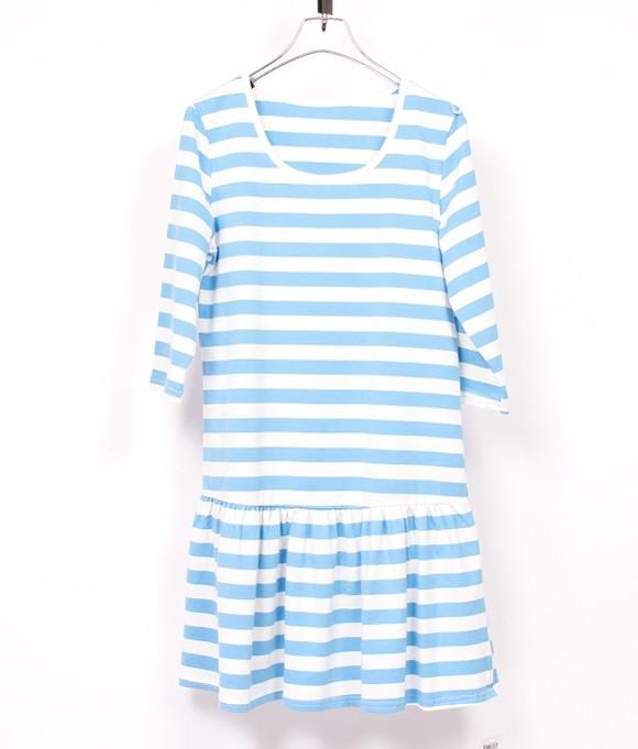 尚品麦夏季女款连衣裙小裙摆连身裙学院风连衣裙棉质连身裙