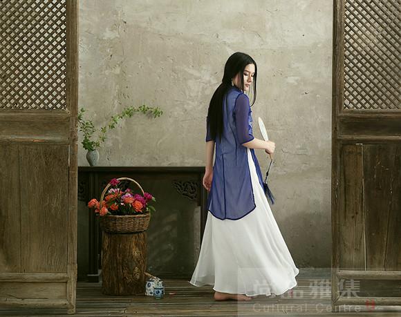 zwzj08茶人服原创设计手绘中式长款三层真丝邹连衣裙