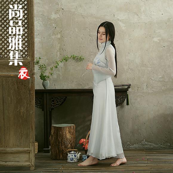 zwzj05茶人服新款原创设计手绘中国风真丝连衣裙 长裙