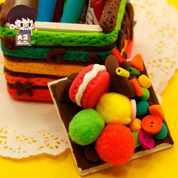 超轻粘土 布朗彩虹蛋糕置物盒diy儿童手工制作材料包