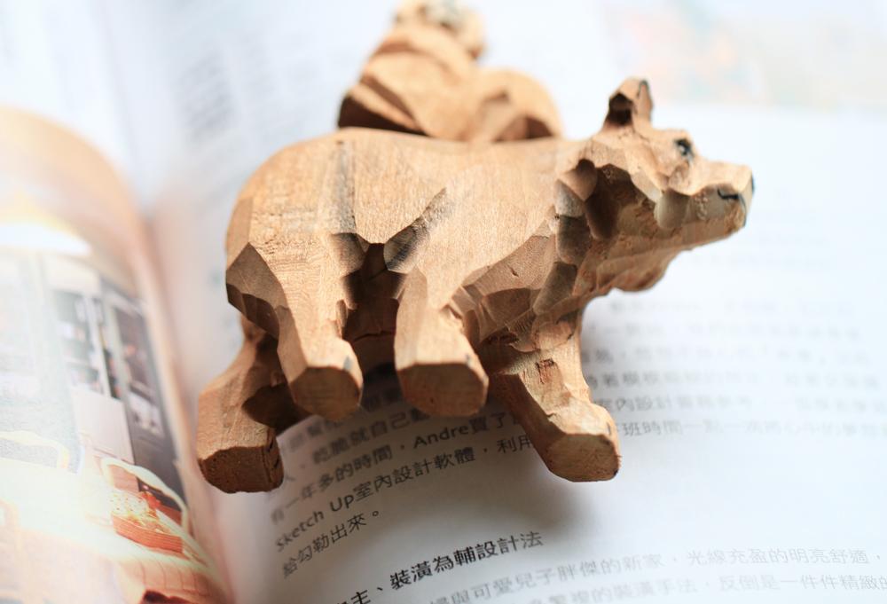 米马杂货 棕熊&松鼠 手工木雕原木摆着玩儿 打动我的是动物自己