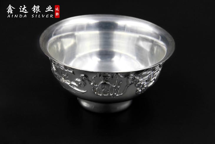 鑫达银业s999纯银龙凤碗 高浮雕工艺 纯手工制作