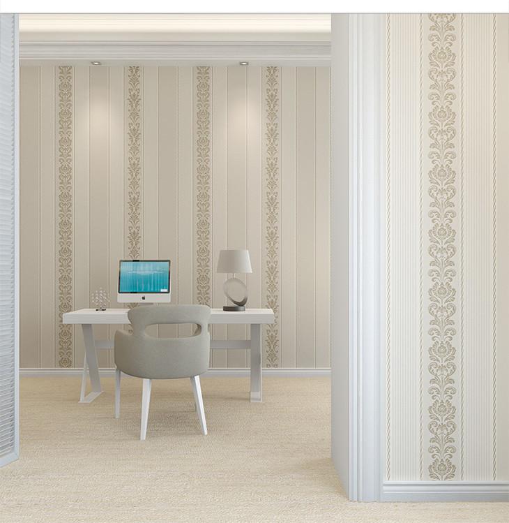 无纺布壁纸 客厅卧室背景墙壁纸 欧式墙纸3d 竖条纹墙纸 海特