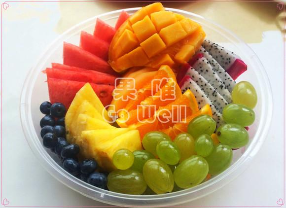 商品详情 西瓜+火龙果+哈密瓜+甜橙+蓝莓+提子+凤梨+芒果 果唯gowell图片