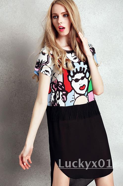 歐美大牌時尚名媛氣質卡通人頭像印花拼接流蘇前短后長真絲連衣裙