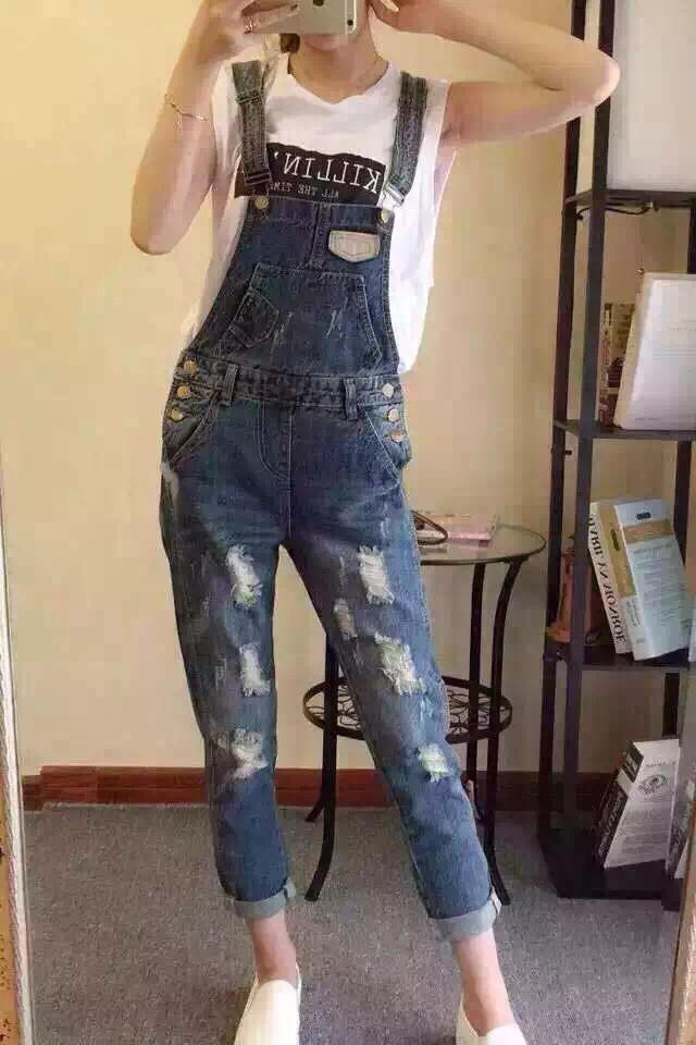 时尚破洞牛仔背带裤 - 丹菲女装图片